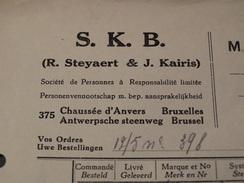 Facture :S.K.B à Bruxelles.-1938- - Belgique