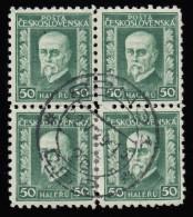 CZECHOSLOVAKIA - Scott #116 President Masaryk / Used Block Of 4 Stamps (bk916) - Blocks & Sheetlets