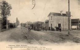 33 MONTUSSAN BEYCHAC LA GARE ANIMEE DEPART DU TRAM ELECTRIQUE POUR BORDEAUX CLICHE UNIQUE - France