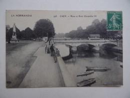 14 CAEN Place Et Pont Alexandre III Tramway Avec Publicité Chocolat Menier - Caen