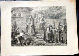 SUISSE SWISS  COSTUMES DU CANTON DE FRIBOURG FREIBURG GRAVURE SUR BOIS XYLOGRAPHIE - Estampes & Gravures