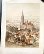 SUISSE SWISS  VUE DE FRIBOURG FREIBURG LITHOGRAPHIE COLOREE D'EPOQUE - Estampes & Gravures