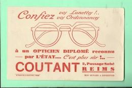 BUVARD: 21 X 13,5  Opticien Coutant à Reims - Buvards, Protège-cahiers Illustrés