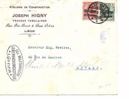 Lettre Deutsches Reich LIEGE  Ateliers Joseph HIGNY   (  Ctr. Militarische ) - Guerre 14-18