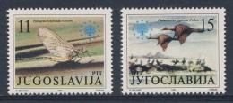 Jugoslavija Yugoslavia 1991 Mi 2504 YT 2368 Sc 2113 ** Palingenia Longicauda : Insect + Phalacrocorax Pygmaeus : Bird - Natuur