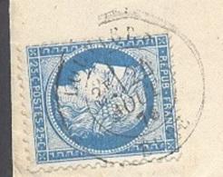 EURE 27 LOUVIERS  LSC Tad Type 18 Du 24/08/1876 Sur N° 60 TTB - Marcophilie (Lettres)