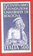 ITALIA REPUBBLICA MNH - 1988 - 9º Centenario Della Fondazione Dell'università Di Bologna - £ 500 - S. 1839 - 6. 1946-.. Repubblica