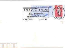 Sur Enveloppe Entier Postal , 80ème Anniversaire De La Bataille De Verdun . - Poststempel (Briefe)
