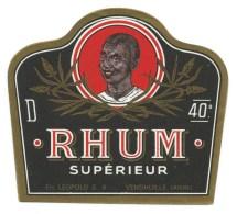 """Etiquette Rhum  Supèrieur  """" Visage  Homme""""  Ets Léopold SA  Vendhuille Aisne 02 - Rhum"""
