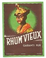 """Etiquette Rhum  Vieux Garanti Pur  """" Visage  Femme Coiffe """"  Plouviez Et Cie - Rhum"""