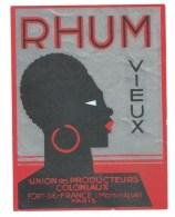 """Etiquette Rhum  Vieux  Martinique  Union Des Producteurs Coloniaux  Fort De France Martinique  """"visage Femme"""" - Rhum"""