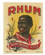 """Etiquette Rhum   Martinique  Vieux   """"visage Homme """" Etiquette Vernissée  E Cuvelier Paris N°148 - Rhum"""