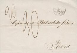 1852 - LAC Ligne Du Levant Marque D´entrée Alexandrie Egypte >>>> Rothschild Paris + Double Taxes 20/90 - (3 Scans). - Préphilatélie