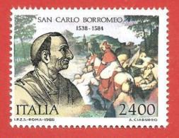 ITALIA REPUBBLICA MNH - 1988 - 450º Anniversario Della Nascita Di San Carlo Borromeo - £ 2400 - S. 1852 - 6. 1946-.. Repubblica