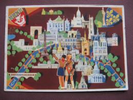 CPA CPSM SCOUTISME JAMBOREE DE LA PAIX En France 1947 Dessin JOUBERT Scouts Monuments Blasons Armoiries TIMBRE JAMBOREE - Movimiento Scout