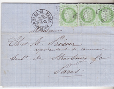 75 Paris - Lettre De 1874 Avec 3tp N°53 Et Oblit étoile 3. Complete Tb état,1 Tp Pli Vert. Bel Affranchissement Local. - Marcophilie (Lettres)