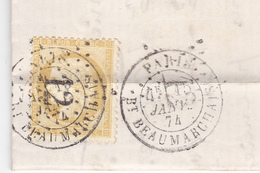 75 Paris - Lettre De 1874 Avec Tpn°59 Oblit étoile 12 Complete Tb état,double Affranchissement Et Position Du Tp Inhabit - 1849-1876: Période Classique
