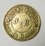 Jeton Bains Neufs - J. B. - Eau Du Rhône - 27 Rue Villeroi - Lyon - Poinçon B - Noodgeld