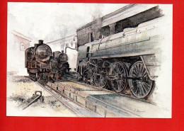 Train - Chemin De Fer - Aquarelle Ferroviaire De Lucien JOVENEAUX Né à Lille 1927 - Trains