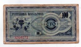 Macedonia - 1992 - Banconota Da 100 Denari - Usata -  (FDC1631) - Macedonia