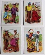 4 Images Danse Folklore Auvergne Languedoc Comté De Nice Flandre Artois Planche éducative Volumétrix Années 60 - Vecchi Documenti