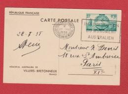 Entier Postal  --  Mémorial Australien  Obl