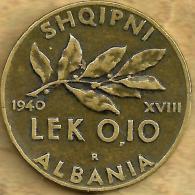 ALBANIA 0.10 LEK LEAF FRONT KING MAN HEAD BACK 1940 VF SCARCE KM? READ DESCRIPTION CAREFULLY !!! - Albania