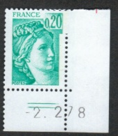 Variétés **  NEUF ** Sabine 1967 Tache Sur Le Zero; Coin Daté 2.2.78 Variété - Abarten Und Kuriositäten