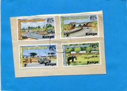 Kenya-4 Timbres Oblitérés Sur Fragment-bel état-série N°91-94 Nairobi-addis Abaha-higway -1977 - Kenya (1963-...)