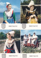 Av - 6 CPM Costumes, Blason BRETAGNE (Pont Aven, Chateaulin, Plougastel, Elliant, Rennes, Plouguerneau - Costumes