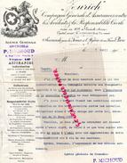 SUISSE - ZURICH - LETTRE AGENCE GRENOBLE- P. MICHOUD- ASSURANCES - PARIS- 1905 LION - Switzerland
