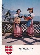 Av - CPM Costumes, Blason MONACO - Costumes Régionaux - Costumes