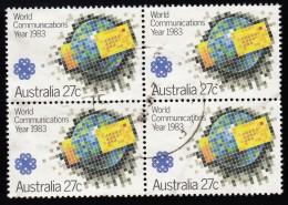 AUSTRALIA - Scott #869 World Communications Year / Used Block Of 4 (bk951) - Blocks & Kleinbögen