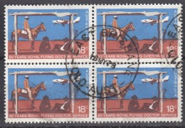 AUSTRALIA - Scott #676 Royal Flying Doctor Service, 50th Anniv. / Used Block Of 4 (bk962) - Blocks & Kleinbögen