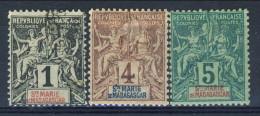 Ste Maria De Madagascar 1894 Piccolo Lotto N. 1 Usato, N. 3 E 5 MH Catalogo € 21,60 X - Non Classificati