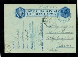 FRANCHIGIA-POSTA MILITARE -  DA CENTO PER PALERMO - UFFICIO SPROVVISTO DI BOLLI - Guerre 1939-45