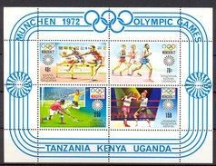 Myx026 SPORT OLYMPISCHE SPELEN HORDELOPEN HOCKEY BOXING RUNNING HURDLER OLYMPIC GAMES KENYA TANZANIA UGANDA 1972 PF/MNH - Summer 1972: Munich