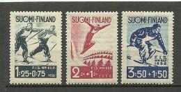FINLAND FINNLAND 1938 Michel 208 - 210 Skisport MNH - Neufs
