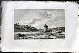 SUISSE SWISS GRANDE VUE DU MAGASIN DE SCHAFHAUSEN  SOUS LES CATARACTES DU RHONE  ZURLAUBEN 1780 - Estampes & Gravures