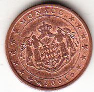 MONACO 2001 .1 CENTIMO  EBC POCO CIRCULADA.MUY BONITA   CN4493 - Monaco