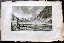 SUISSE SWISS GRANDE VUE DU LAC DE VALENSAT DU COTE DE LA VILLE   ZURLAUBEN 1780 - Estampes & Gravures