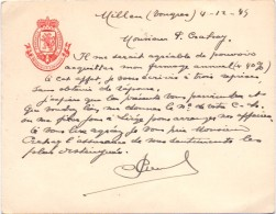 Brief Lettre Provincie Raadslid Limburg - Millen - Tongeren 1945 - Autographes
