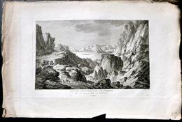 SUISSE SWISS GRANDE VUE DES MONTAGNES DU VAL TRAVERS ET LAC DE NEUCHATEL  ZURLAUBEN 1780 - Estampes & Gravures