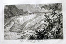 SUISSE SWISS GRANDE VUE DELA GLACIERE OU L'AAR PREND SA SOURCE   ZURLAUBEN 1780 - Estampes & Gravures