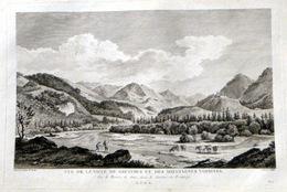 SUISSE SWISS GRANDE VUE DE LA VILLE DE GRUYERES ET DES MONTAGNES VOISINES   ZURLAUBEN 1780 - Estampes & Gravures