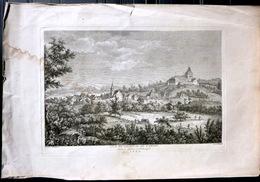 SUISSE SWISS GRANDE VUE DU CHATEAU DE SAINT DENIS DANS LE CANTON DE FRIBOURG   ZURLAUBEN 1780 - Estampes & Gravures