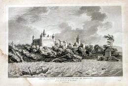 SUISSE SWISS GRANDE VUE DE LA VILLE D'ESTAVAYER  DANS LE CANTON DE FRIBOURG   ZURLAUBEN 1780 - Estampes & Gravures