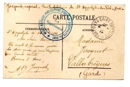 SAINT ST HIPPOLYTE DU FORT GARD ECOLE MILITAIRE PREPARATOIRE UN DORTOIR N°6 MARQUE POSTALE LE VAGUEMESTRE 16 12 1914 - Postmark Collection (Covers)