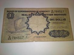 "MALAYA BRITISH BORNEO 1959 ""TDR"" $1 P-8a  BANKNOTE LOC#A1270 - Malaysia"