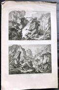 SUISSE SWISS  VUE DE DEUX PASSAGES DU MONT SAINT GOTHARD  ZURLAUBEN 1780 - Estampes & Gravures